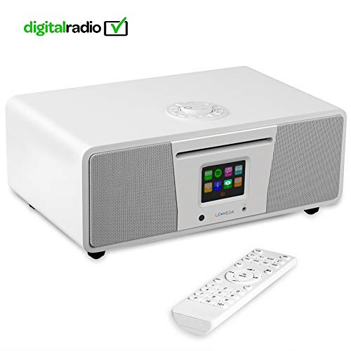 e Smart Music System (2.1 Stereo) with CD, Wi-Fi, Internet Radio, Spotify, Bluetooth, DLNA, DAB, DAB+, FM Radio, Clock, Alarms, Presets, and Wireless App Control - Satinweiß ()