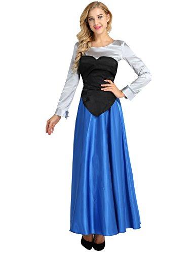 YiZYiF Damen Prinzessin Kleid Kostüm Kleine Meerjungfrau Kleider Fasching Karneval Cosplay Ball Party Halloween Kostüme Outfits Blau Large