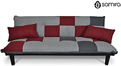 Sofá cama de tejido gris claro-rojo-gris oscuro - Sofà tres plazas - mod. Russell con almohadas