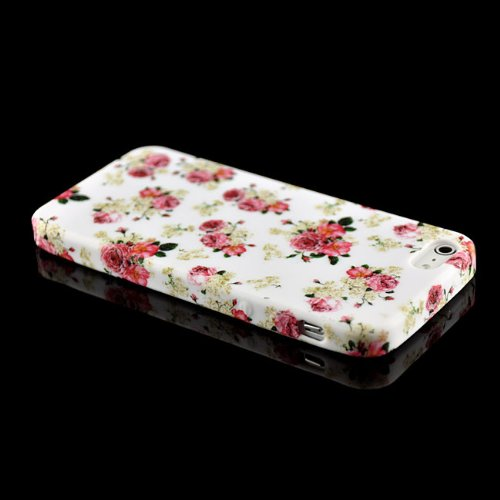 Saxonia Schutzhülle für Apple iPhone SE 5 5S Hülle Case Back Cover TPU Silikon mit Motiv Blume / Rosen-Rot Blume / Rosen-Rot