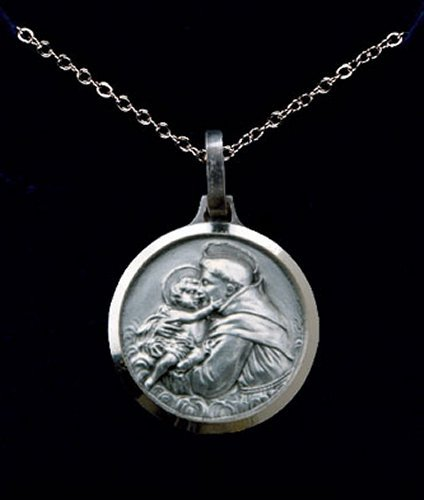 St. Anthony, versilberte Halskette und Lourdes Gebet Karte