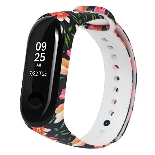 Silikon-Wiedereinbau-Manschette für Xiaomi-Band 3, TPE justierbare Farbdruck-Manschette, 10.23 x 0.71 x 0.20 Zoll, heißes Sport-Eignung Smartwatch Bügel um ()