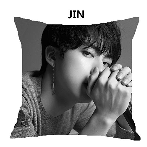 OKDEALS Ropa de Cama Love Yourself K-Pop Home Decor Bangtan Boys BT21 Throw BTS Funda de Almohada Funda de cojín, JIN