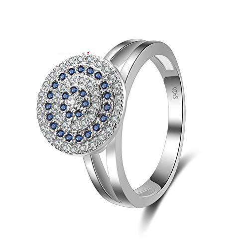hl Design 925 Silber Ring Finger Schmuck Runde Ziel Teller Voll Blau Weiß Strass Frauen Trendy Ringe, 9. ()