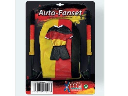 Auto-Fan-Set mit Fahnen in Schwarz-Rot-Gold - Spiegelflaggen, Fensterflaggen und Mini-Trikot zur EM 2016 -