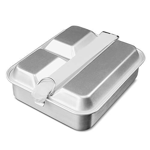 Lixada Aluminium Brotdose Leicht Lunchbox 2 IN 1 Essen Bento Mittagessen Box Bento Essen