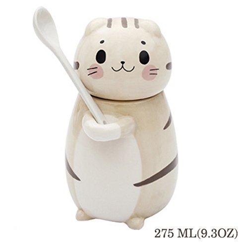 Preisvergleich Produktbild Binoster Süße Katze Becher, Keramik lustige 3D Kätzchen Kaffeetasse, mit kreativen Deckel, Griff und Löffel, für Katzenliebhaber Kaffee Liebhaber Mom Lehrer und Freunde (275ml)