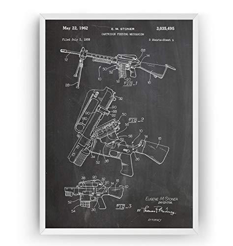 AR-15 Sturmgewehr Patent Poster - Jahrgang Drucke Drucken Bild Kunst Geschenke Zum Männer Frau Entwurf Dekor Vintage Art Gifts For Men Women Blueprint Decor - Rahmen Nicht Enthalten -