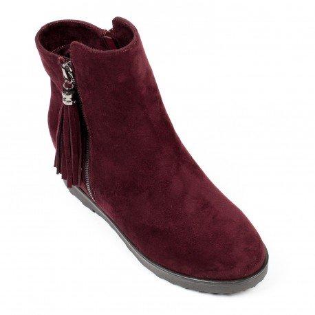 Ideal Shoes - Bottines compensées effet daim avec franges Mariella Rouge