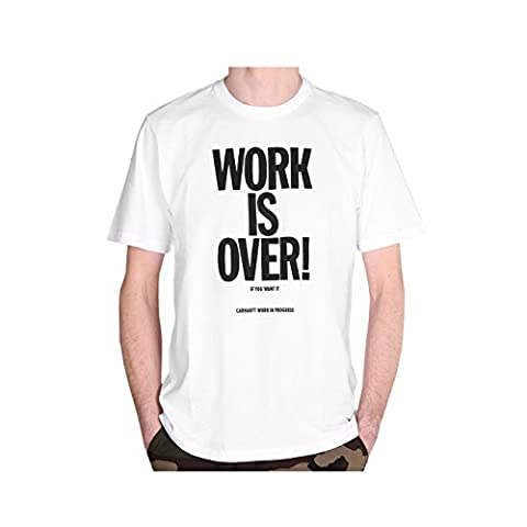 Carhartt Men's Ch S/S Work Is Over Kniited Tank Top, White (White/Black), X-Large