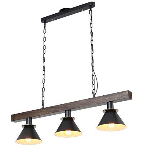 Vintage Industriell Pendelleuchte Hängeleuchte Holz und Metall Hängeleuchte Retro 3 * E27 Leuchtmittel Höhenverstell für Küchen insel Bar Esszimmer Esstisch Schlafzimmer Kronleuchter (90cm * 20cm) -