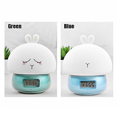 Ho Clocks Cute Pet Nachtlicht Wecker mit Wake up Light Recording Pat Lichtfunktion mit Fernbedienung Für Kinder Geschenk Alarm Clock(Tricolor),Green