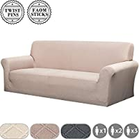 YISUN Jacquard Sofa Cover, Stretch 1/2/3 Seater Armrest Backrest Sofa Chair Grid Lycra Slipcover with Twist Pin/Elastic Band, Washable Couch Furniture Protector (3 Seater/Sofa, Light Tan)