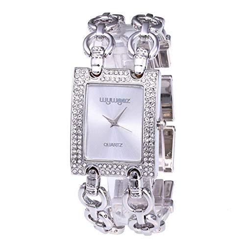 Damen Armbanduhr FGHYHFrauen Runde Voller Diamanten Armbanduhr Analog Quarzwerk Doppelte Kette Armbanduhr(SL) -