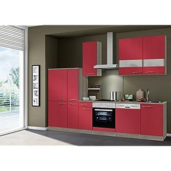Idealshopping küchenblock imola ohne elektrogeräte in rot glänzend 300 cm breit