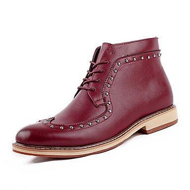 Love & scarpe da uomo casual stivali in pelle scarpe casual tacco piatto lace-up nero/marrone/bordeaux, (Borgogna In Pelle Di Avvio Boot)