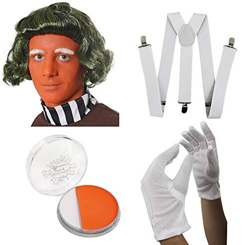 Grün Perücke orange Face Farbe, weiße Handschuhe, Hosenträger Set Chocolate Factory Worker Set