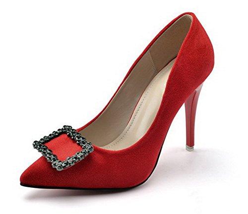 AalarDom Femme Couleur Unie à Talon Haut Pointu Tire Chaussures Légeresavec Bijou Rouge-Boucle