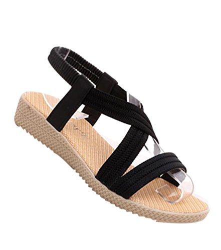 YOUJIA Damen Strand Sandale Casual Böhmen Sommer Peep-Toe Flache Sandalen Schuhe Schwarz