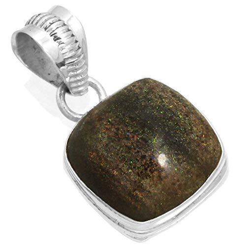 Jeweloporium Natürliche Honduras Schwarz Matrix Opal Edelstein Sammlerstück Schmuck Solide 925 Sterling Silber Anhänger (Honduras Silber Schmuck)