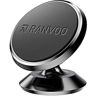 RANVOO Car Phone Holder, Magnetic Car Mount Universal Portable Metal Dashboard Cradle for Smart Phones, Mini Tablets, GPS devices, iPhone X XS 8 Samsung S9 S8 HAUWEI P20 Google Pixel 2, Jet Black