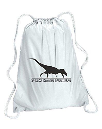 T Rex Hates Push Ups Funny da donna sacchetto di scuola Gym Sack, Donna, bianco, Capacity 5 Litres