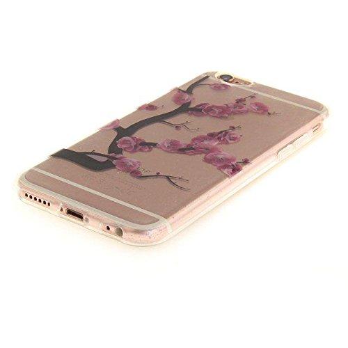 Etsue Silikon Schutz HandyHülle für iPhone 6S/iPhone 6 (4.7 Zoll) Blumen TPU Hülle, Niedlich Schöne Blume Muster Silikon Handytasche Ultradünnen Weiche Durchsichtig Handyhülle Soft Case Crystal Clear  lila Pflaume Blume