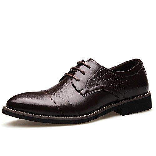 GRRONG Herren Lederschuhe Geschäfts-formale Kleid Fashion Black Brown Brown