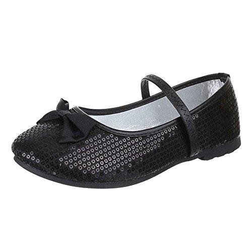 Kinder Schuhe, EL15695, BALLERINAS, PAILETTEN HALBSCHUHE, Textil , Schwarz, Gr 35