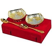 TUZECH - Juego de 4 cuencos de latón bañados en oro ...