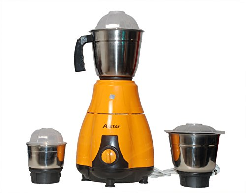 A-Star Mixer Grinder & Juicer 550 Watt with 3 Jars ( Yellow)