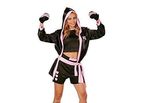 Widmann 73963 - Erwachsenenkostüm Boxerin, Top, Short, Mantel mit Kapuze und Boxhandschuhe, schwarz, Größe - Halloween-kostüme Mit Box