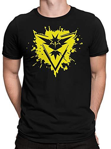ghostee - Anime Fan T-Shirt - Team Gelb Intuition Gaming Trainer-Shirt Instinct, Größe:XXL, Farbe:Schwarz