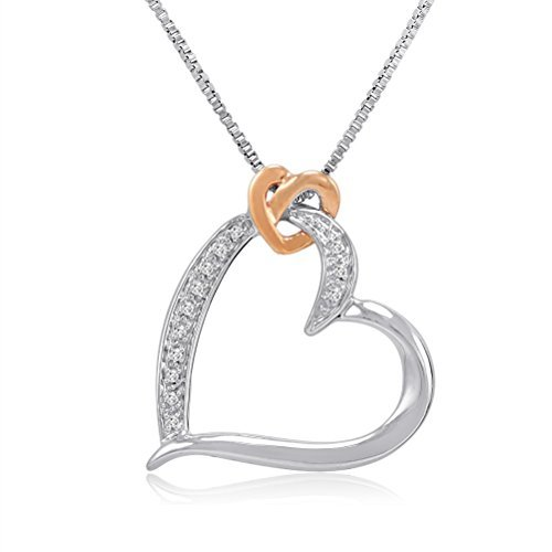 sterling-silber-und-14k-gold-diamant-herz-anhnger-halskette-auf-einem-457cm-box-kette