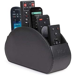 Anadol Fernbedienungshalter mit 5 Fächer für TV/Fernseher, Receiver, Blu-ray, DVD, Smartphones, Controller - auch als Organizer für Brillen, Schlüssel geeignet - schwarz