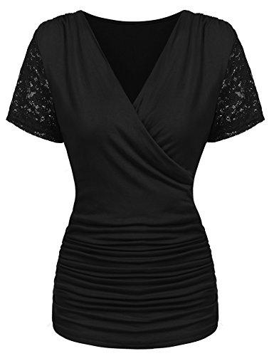 Parabler Damen Sexy V-Ausschnitt Kurzarm Tunika Blusen Oberteile Stretch T-Shirt in Wickel-Optik mit Rüschen (Schwarz, EU 38/M)