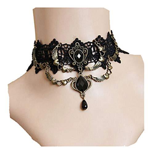 Black Lace Choker (LJSLYJ Punk Black Lace Gothic Lolita viktorianischen Choker Perlen Kette Armband für Halloween und Weihnachtsfeier)