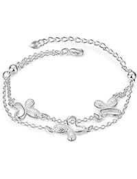 lekima 20cm doble capa mariposas Cute encanto ajustable brazalete pulsera cadena de mano para mujer y niñas (bolsa de regalo incluida)