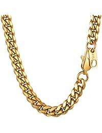 PROSTEEL Chaîne Collier Maille Gourmette Serrée Link Chain Necklace en Acir  INOX 316L Plaqué Or Plaqué Métal Noir Fashion Bijoux pour… aedfd90ec257