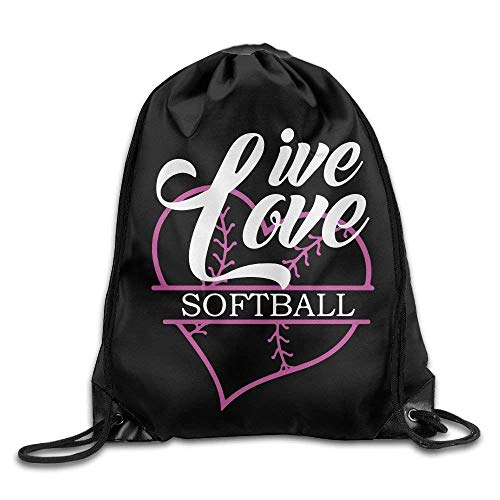 ZHIZIQIU Live Love Softball Drawstring Pack Beam Mouth Gym Sack Shoulder Bags for Men And Women