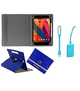 Gadget Decor (TM) PU Leather Rotating 360° Flip Case Cover With Stand For zync Z930 + Free USB Led Light - Dark Blue