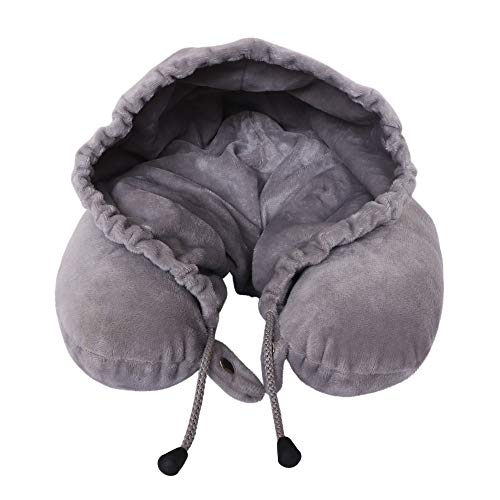 Trajectory Velvet SuperCozy Hoodie Neck Pillow with Snap-on Button and Accessories Pocket (Grey)