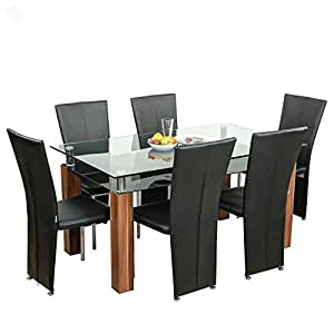 Royal Oak Barcelona Dining Table Set (Black and Brown)