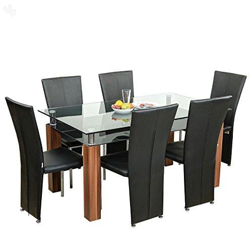 Royal Oak Barcelona Dining Table Set (Black and Brown)