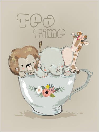 Posterlounge Holzbild 30 x 40 cm: Tea Time Tierchen von Kidz Collection/Editors Choice