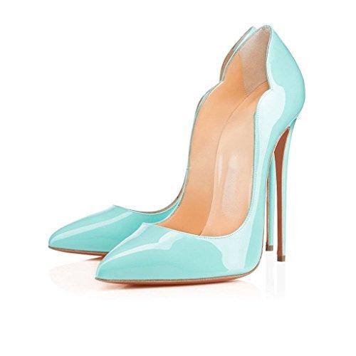 EDEFS Damen Spitze Zehe Schuhe 120mm High Heel Pumps Hohen Absätzen Geschlossen Abendschuhe Blau