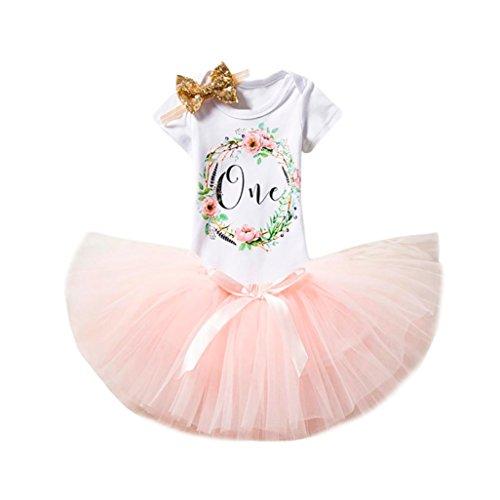 Babykleider Kostüm - Baby Mädchen Kleidung Set 3 Stück Kurzarm-Body Floral Brief Print Baumwolle Strampler + Rock Tütü + Stirnband Geschenk Kleidung im Kleid Look Longra (Pink, 70CM 12Monate)