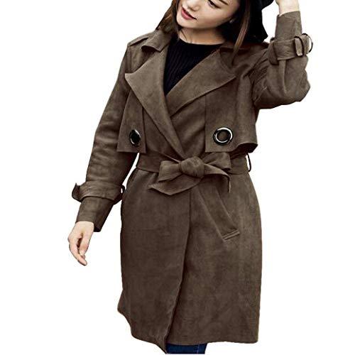 Damen Mantel Herbst Longsleeve Wildleder Trenchcoat Lange Vintage Trend Casual Revers Kleidung Coat...