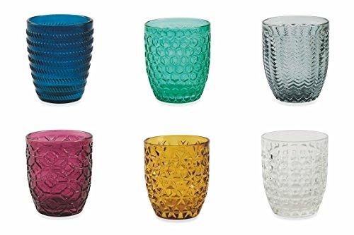 Villa d'Este Home Tivoli Geometrie Set 6 Bicchieri Acqua, Multicolore, 6 unità