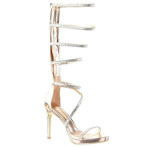 c6c5d5ff302843 Angkorly - Scarpe da Moda sandali scarpe decollete gladiatore stiletto sexy  donna tanga multi-briglia